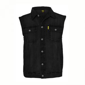 MCS Denim Vest - Black with Collar