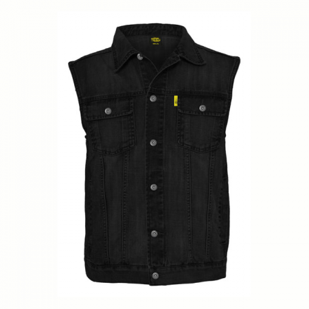 MCS Denim Vest - Black with Collar
