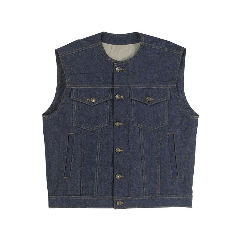 Biltwell Inc. Denim Vest - Prime Cut Indigo without Collar