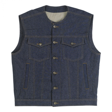 Biltwell Inc. Denim Vest - Prime Cut Indigo without Collar