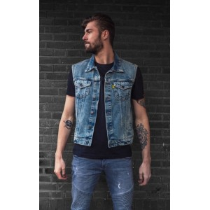 MCS Denim Vest - Blue with...