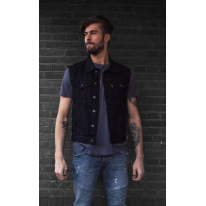 MCS Denim Vest - Black with...