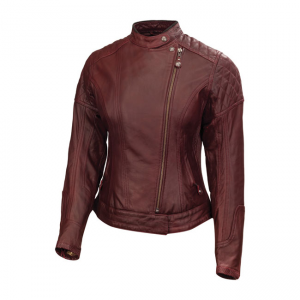 Roland Sands Ladies Leather Jacket - Riot Oxblood