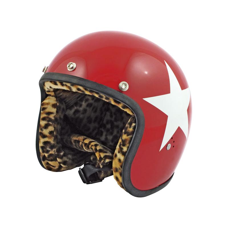 Bandit Helm Jet - Star Rot mit weißen Stern (Leopard Edition)