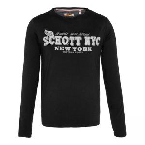 Schott NYC Langarmshirt - Logo Schwarz