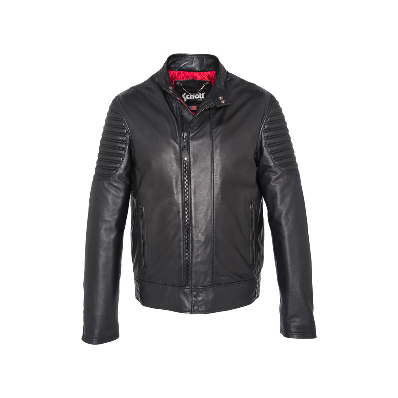 Schott NYC Leather Biker Jacket - Black