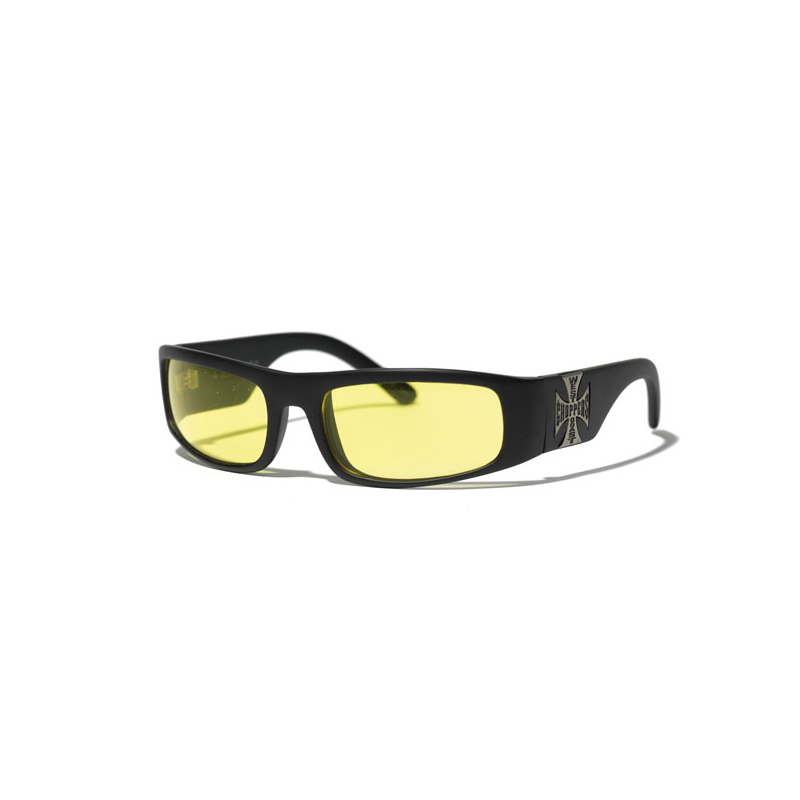West Coast Choppers Glasses - Original Cross Yellow