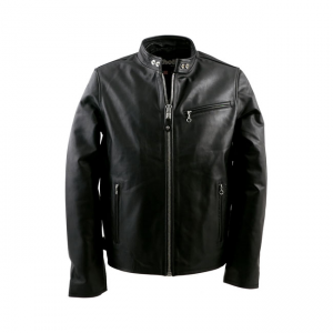 Schott NYC Leather Jacket - Cafe Racer Biker Black