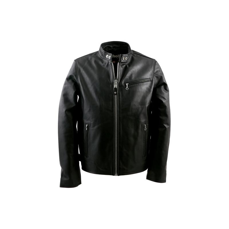 Schott NYC Leather Jacket - Cafe Racer Biker Black