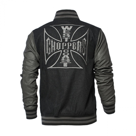 West Coast Choppers Jacke - OG Cross Baseball Grau/Schwarz