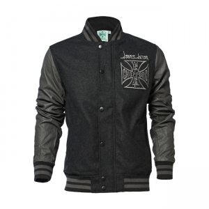 West Coast Choppers Jacke - OG Cross Baseball Grau/Schwarz