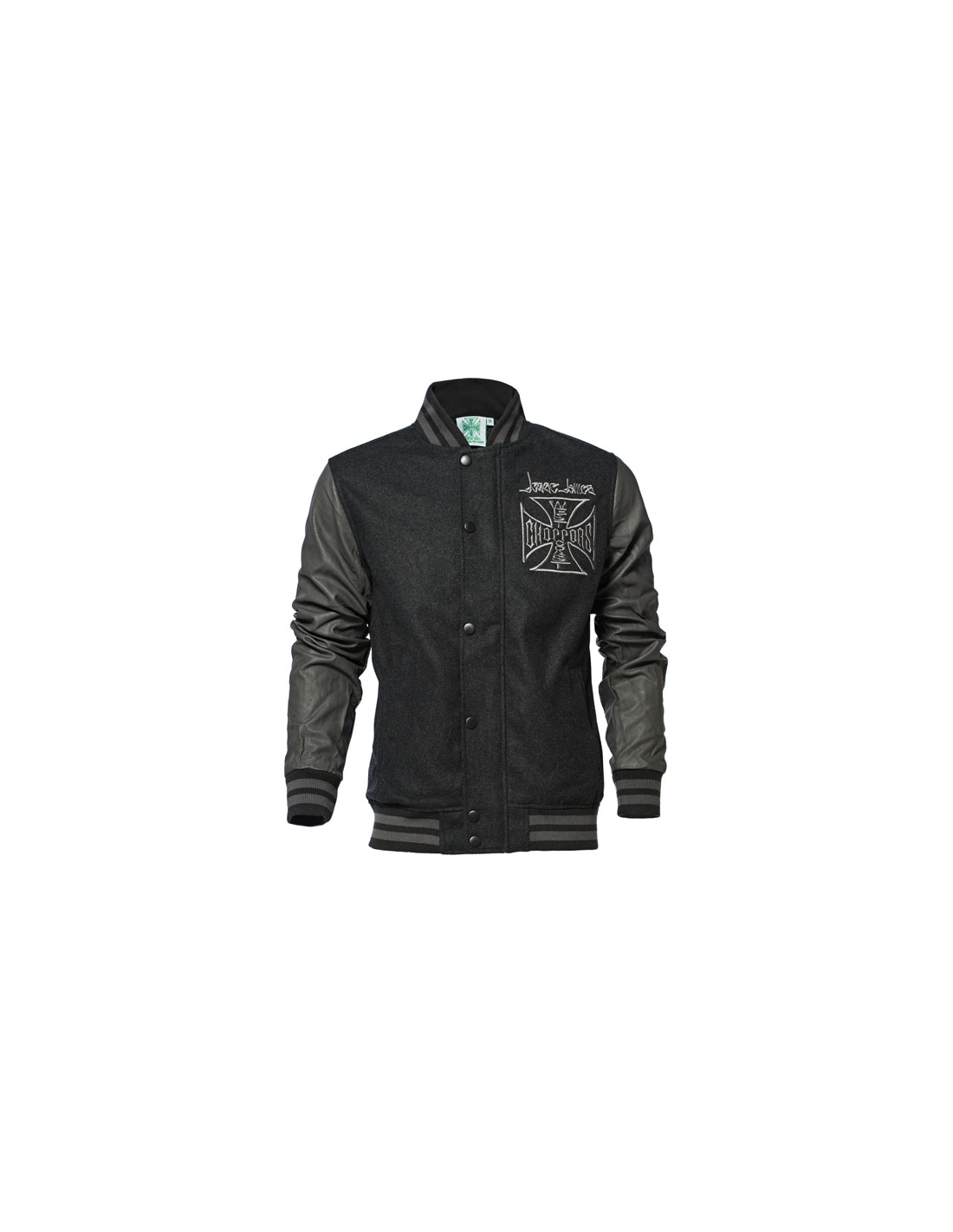 4aa41831a308f9 West Coast Choppers Jacke - OG Cross Baseball Grau Schwarz