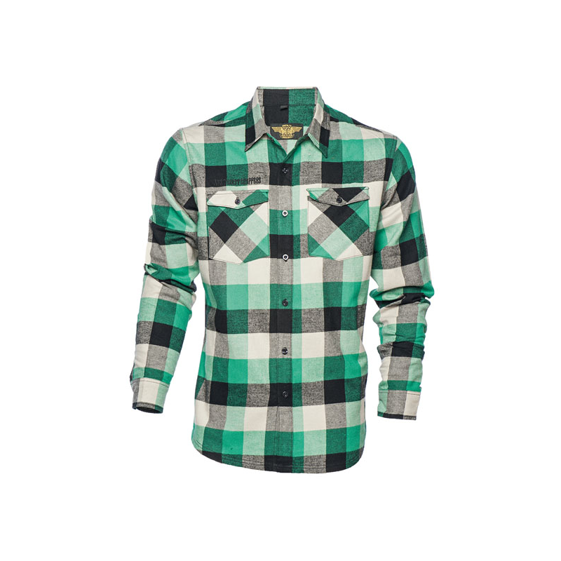 West Coast Choppers Workshirt - El Diablo Flannel Grün
