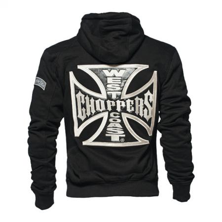 West Coast Choppers Zip Hoodie - Cross Panel Black