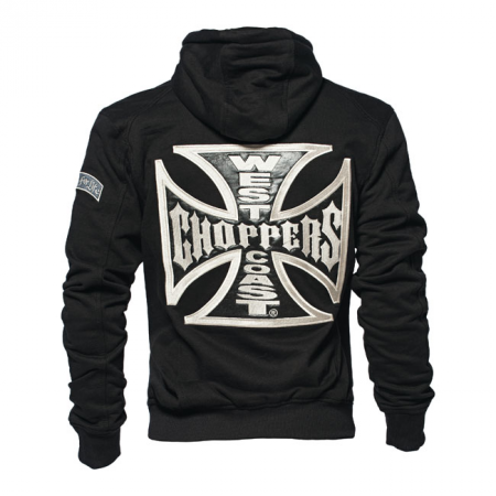 West Coast Choppers Zip Hoodie - Cross Panel Schwarz
