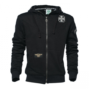 West Coast Choppers Zip Hoodie - Cross Panel Black