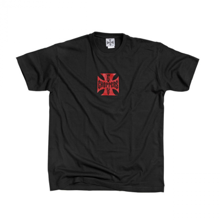 West Coast Choppers T-Shirt - Original Cross Schwarz Rot