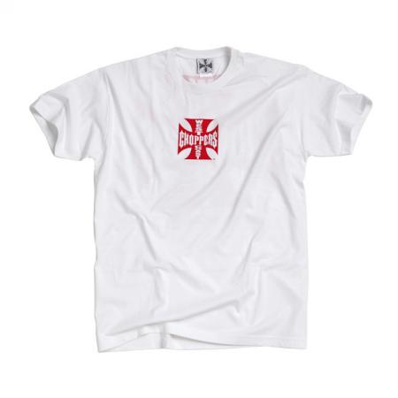 West Coast Choppers T-Shirt - Original Cross Weiß Rot