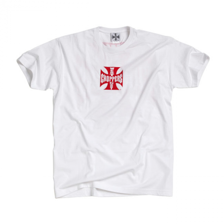West Coast Choppers T-Shirt - Original Cross White Red