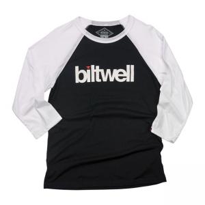 Biltwell Langarmshirt - Helvetica Raglan Schwarz/Weiss