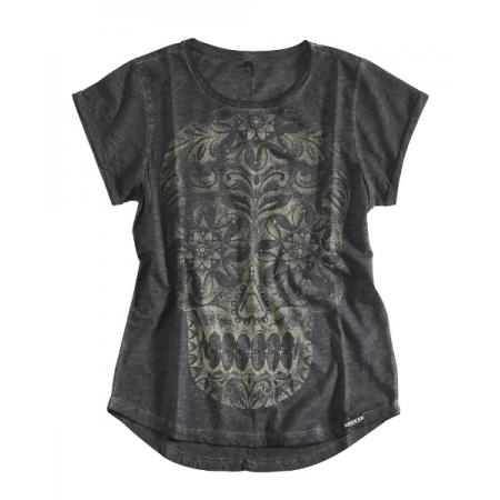 Rokker Frauen T-Shirt - Calavera Dunkel Grau