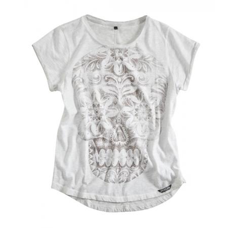 Rokker Frauen T-Shirt - Calavera Weiss